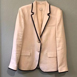 J Crew off white linen blazer black trim size 14